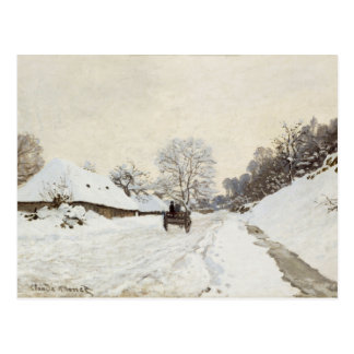 Un carro en el camino nevado en Honfleur Claude M Postales