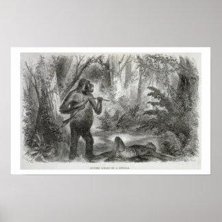Un cazador nativo matado por un gorila, de 'Explor Póster
