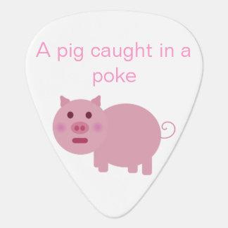 Un cerdo cogido en una púa de guitarra del empuje