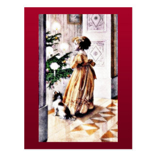 Un chica con un infront de rogación del perro del tarjetas postales