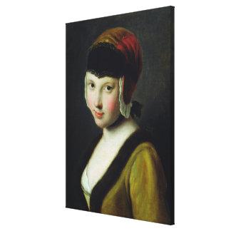 Un chica con una máscara negra lienzo envuelto para galerias