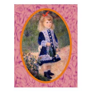 Un chica con una regadera por Renoir Postales