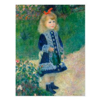Un chica con una regadera tarjeta postal