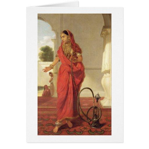 Un chica de baile indio con una cachimba, 1772 (ac tarjeta de felicitación