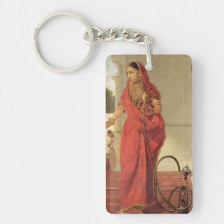 Un chica de baile indio con una cachimba, 1772 llavero rectangular acrílico a doble cara
