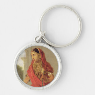 Un chica de baile indio con una cachimba, 1772 llavero redondo plateado