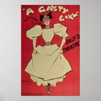 Un chica de la alegría en el teatro del Daly Póster