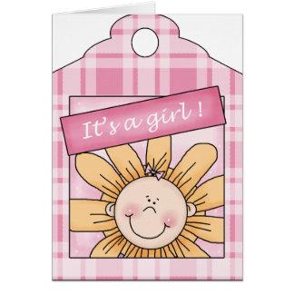 Un chica del girasol tarjeta de felicitación