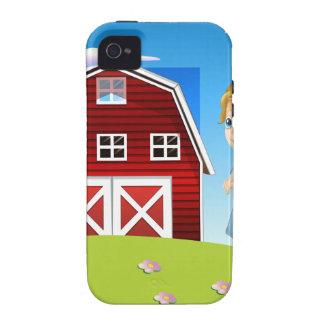 Un chica delante del barnhouse rojo en el hillto iPhone 4/4S carcasa