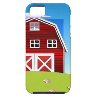 Un chica delante del barnhouse rojo en el hillto iPhone 5 Case-Mate cobertura