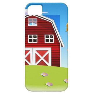Un chica delante del barnhouse rojo en el hillto iPhone 5 coberturas