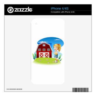 Un chica delante del barnhouse rojo en el hillto skins para eliPhone 4
