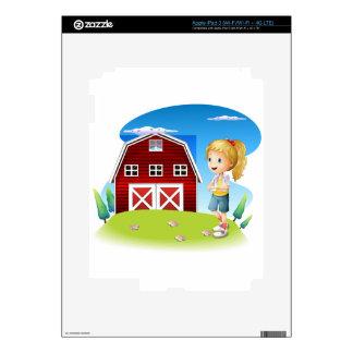 Un chica delante del barnhouse rojo en el hillto iPad 3 skin