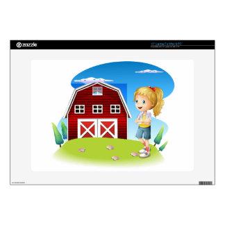 Un chica delante del barnhouse rojo en el hillto portátil calcomanías