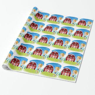 Un chica delante del barnhouse rojo en el hillto papel de regalo