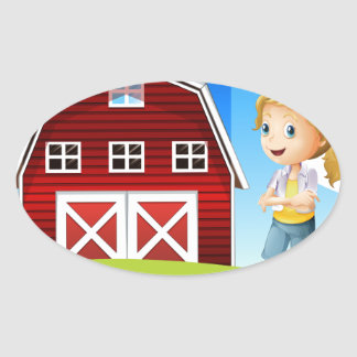 Un chica delante del barnhouse rojo en el hillto pegatina ovalada