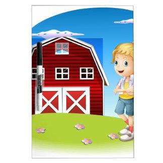 Un chica delante del barnhouse rojo en el hillto pizarras