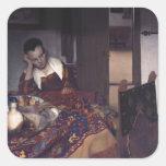 Un chica dormido por Juan Vermeer Calcomanía Cuadrada