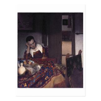 Un chica dormido por Juan Vermeer Tarjetas Postales