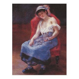 Un chica dormido por Pedro Renoir Postal