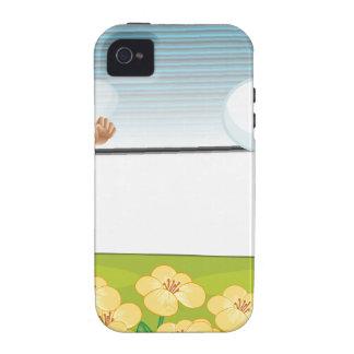 Un chica en un campo de flor iPhone 4 funda