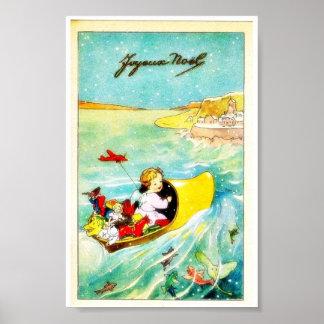 Un chica que entra en un barco con los regalos poster