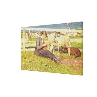 Un chica que hace punto, 1888 (aceite en lona) impresiones en lona estiradas