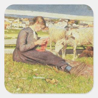 Un chica que hace punto, 1888 (aceite en lona) pegatina cuadrada