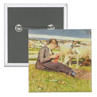 Un chica que hace punto, 1888 (aceite en lona) pin cuadrada 5 cm