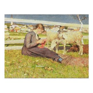 Un chica que hace punto, 1888 (aceite en lona) tarjetas postales
