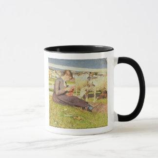 Un chica que hace punto, 1888 (aceite en lona) taza