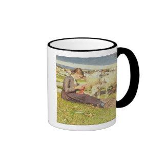 Un chica que hace punto, 1888 (aceite en lona) taza de café