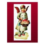 Un chica vestido como boque que lleva del ángel tarjeta postal