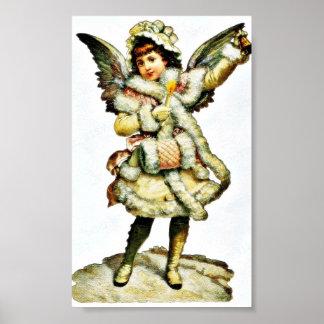 Un chica vestido como un ángel tiene la manija y c póster