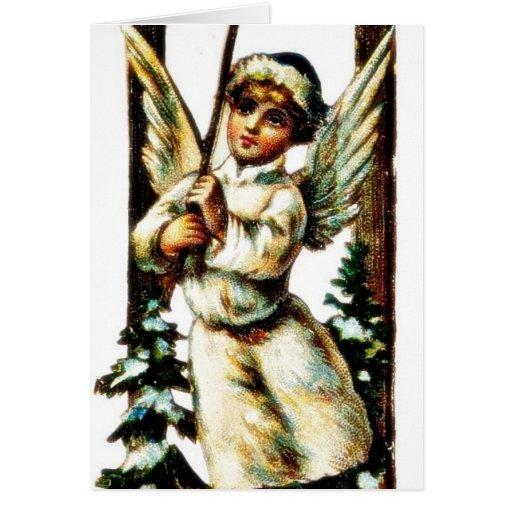 Un chica vistió como los anillos del ángel la camp tarjetón