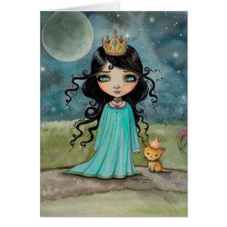 Un chica y su princesa Big Eye Art del gato pequeñ Tarjeton