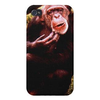 Un chimp para arriba de mirada ensuciado iPhone 4 fundas