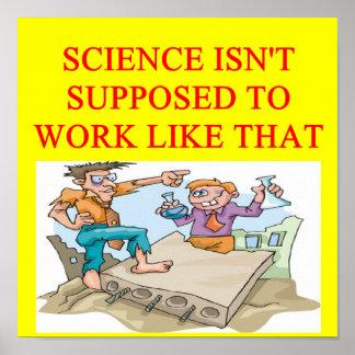 un chiste divertido de la ciencia para usted póster