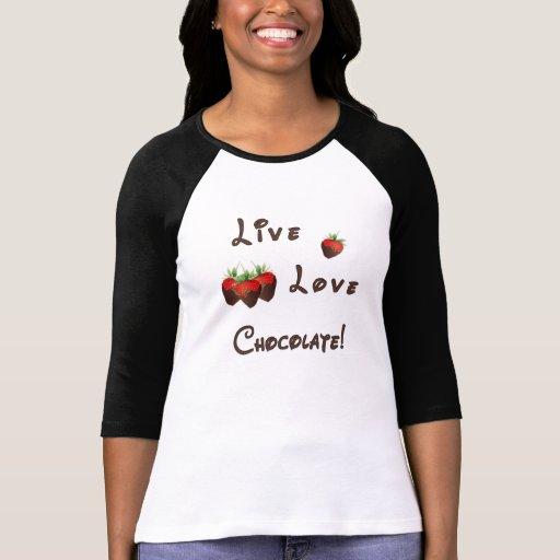 Un chocolate vivo del amor camisetas