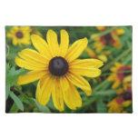 Un cierre hermoso para arriba de una flor amarilla manteles individuales
