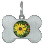 Un cierre hermoso para arriba de una flor amarilla placas de nombre de mascota