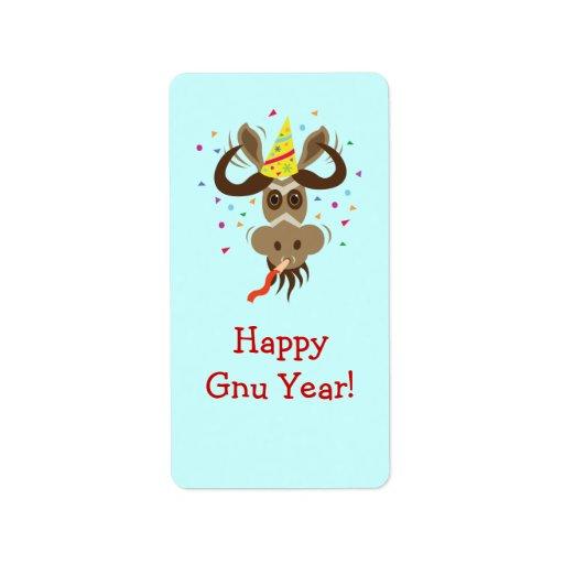 ¡Un cierto año del Gnu de Stuff_Partier Gnu_Happy  Etiqueta De Dirección