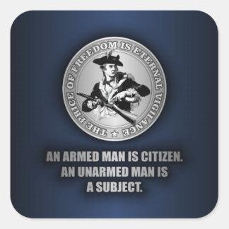 Un ciudadano armado pegatina cuadrada