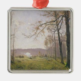 Un claro en una madera otoñal, 1890 adorno navideño cuadrado de metal