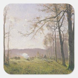 Un claro en una madera otoñal, 1890 pegatina cuadrada