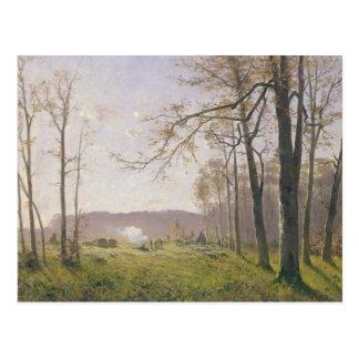 Un claro en una madera otoñal, 1890 postal