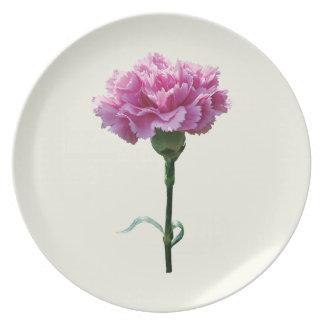 Un clavel rosado platos