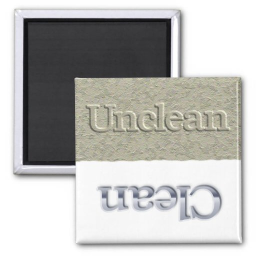 Un/Clean dishwasher magnet