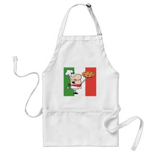 Un cocinero soporta la pizza delantal