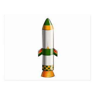 Un cohete coloreado verde y amarillo postales